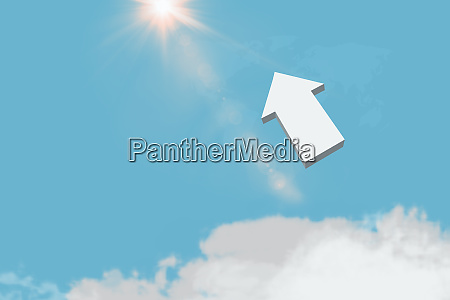 3d arrow in blue sky upper