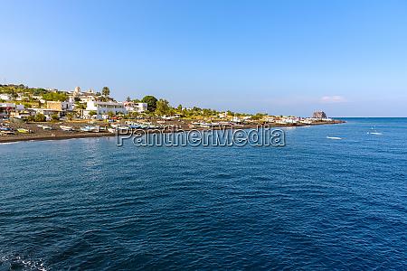 view of coast of stromboli island