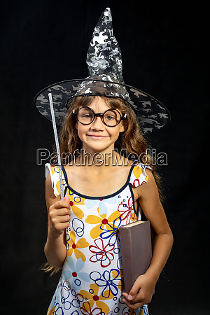 girl sorceress with a book and