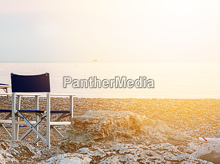 empty folding outdoor chair on a