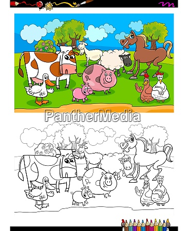 happy farm animal characters group color