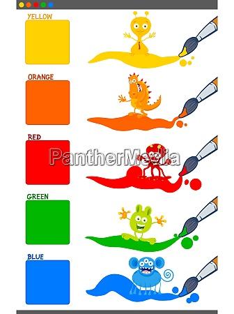 basic colors set with cartoon fantasy