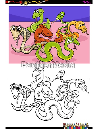 snakes animal characters group color book