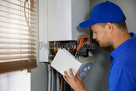 house gas heating boiler maintenance and