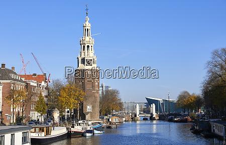 torre de montelbaanstoren e canal de