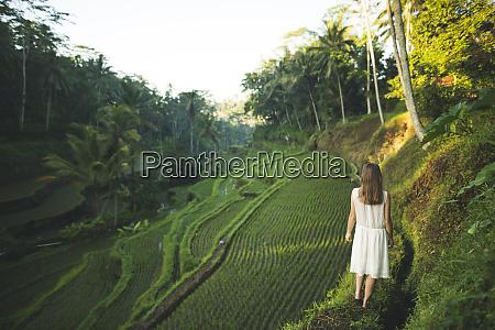 woman wearing white dress on terraced