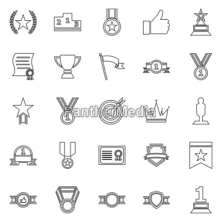victory line icons on white background