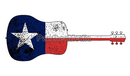 acoustic guitar silhouette with texas flag