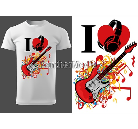 t shirt design with guitar and