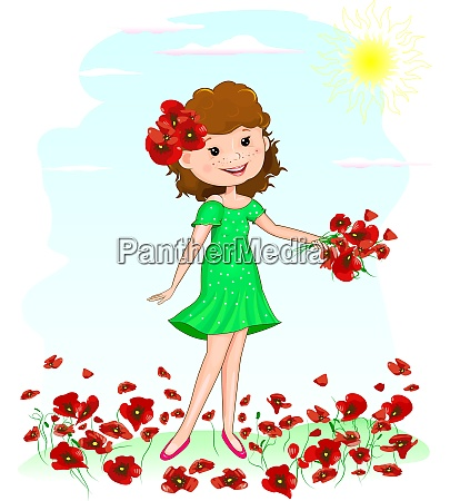 joyful young girl with red poppies