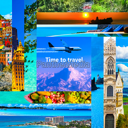 konzept der tourpakete collage fuer reisethema