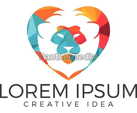 loewe kopf herz form logo design