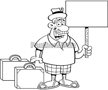 schwarz weiss illustration eines mannes mit