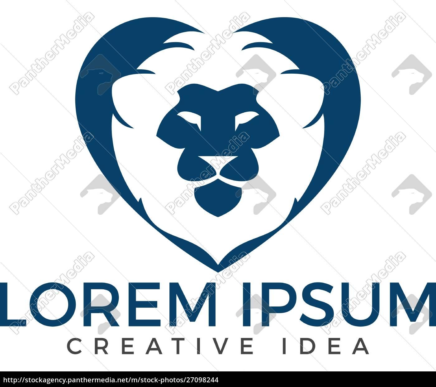 löwe, herz, form, logo, vektor. - 27098244