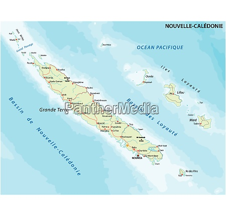 road map new caledonia french island