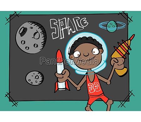 niedlichen schwarzen jungen spielen astronaut lustige