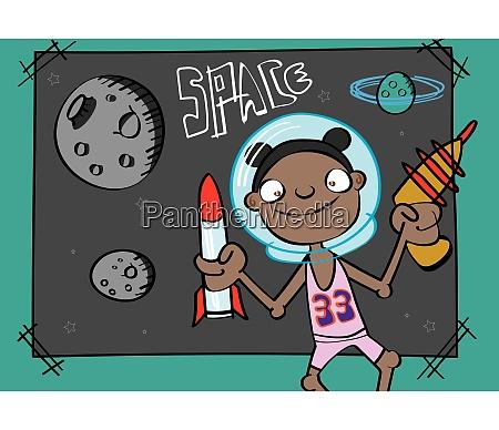 suesse schwarze maedchen spielen astronaut lustige