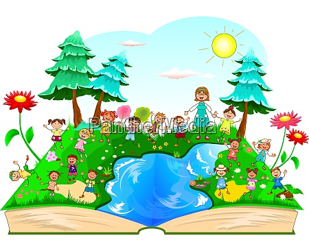 happy kids playing on nature