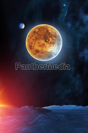 himmlische digitale kunst venus planet in
