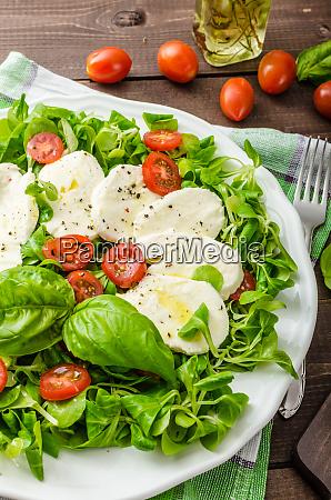 lambs lettuce salad with mozzarella tomato