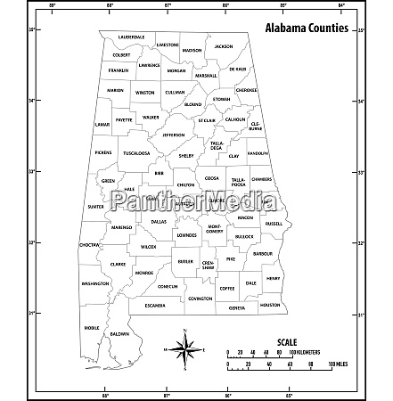 alabama state outline administrative and political