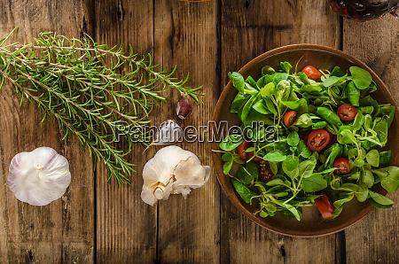 fresh lettuce lamb salad