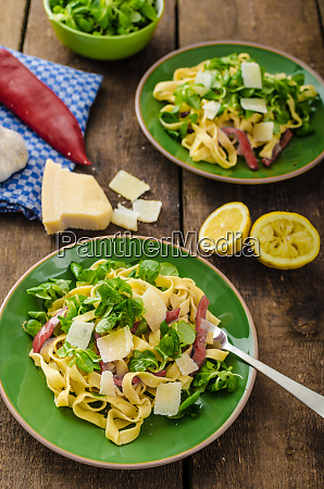 tagliatelle with bacon garlic and salad