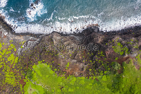 overhead view over pacific ocean and