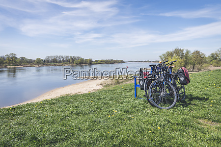 bench with bikes at river elbe
