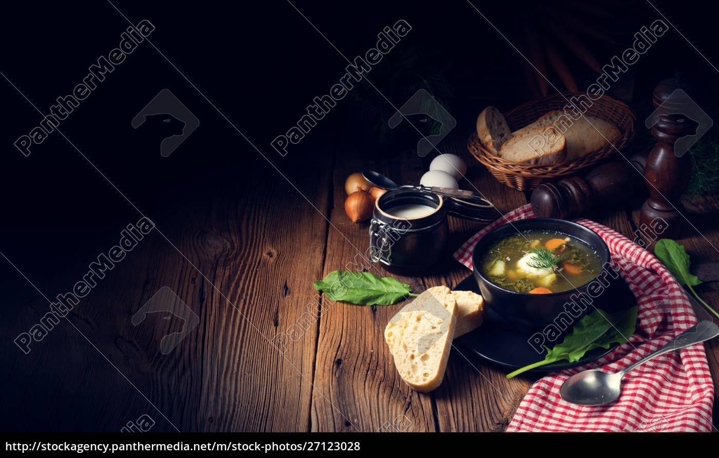 rustikal, sorrel, suppe, mit, kartoffeln, und - 27123028