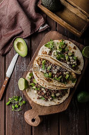 homemade minced beef tortilla fresh avocado