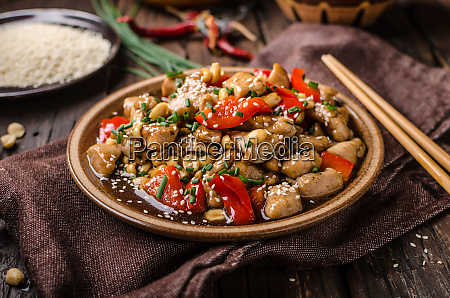 homemade kung pao chicken stir fry