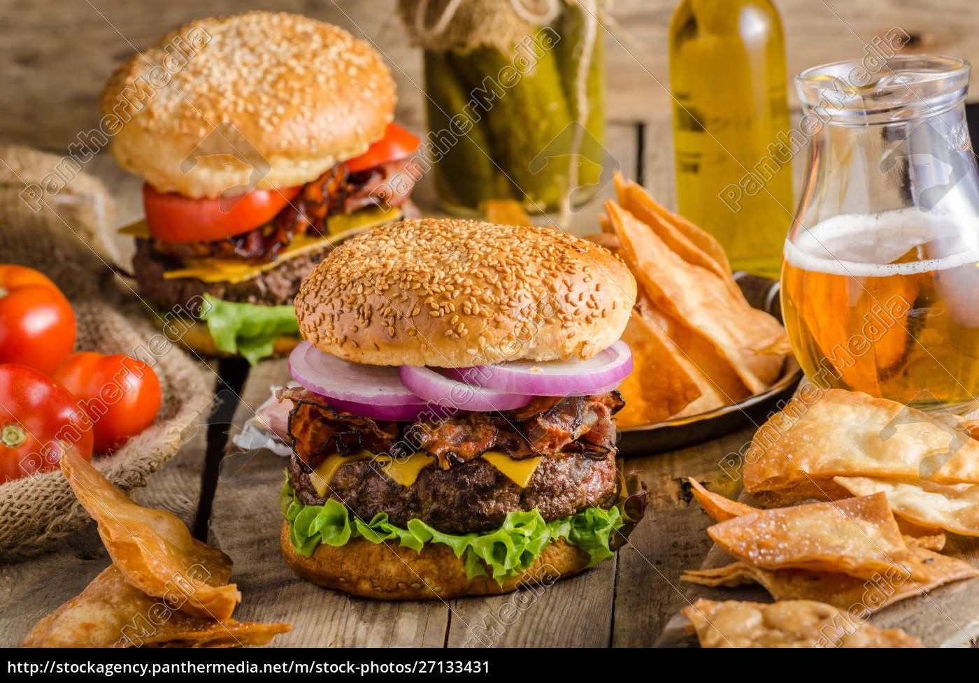 amerikanischer, rustikaler, burger - 27133431