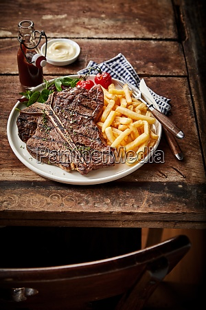 barbecued or grilled t bone steak