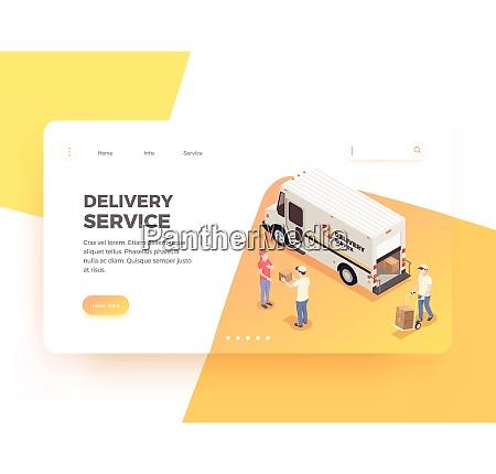delivery logistics shipment isometric web landing