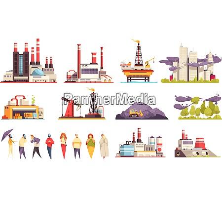 industriegebaeude cartoon satz von fabriken kraftwerke