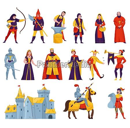 mittelalterliche geschichten charaktere flache set mit