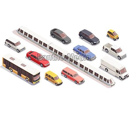 transport isometrische symbole gesetzt mit bus