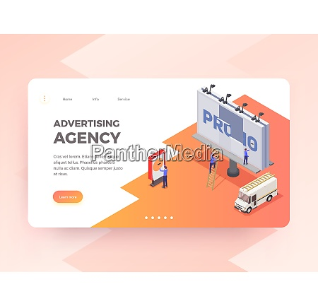 advertising agency isometric horizontal banner with