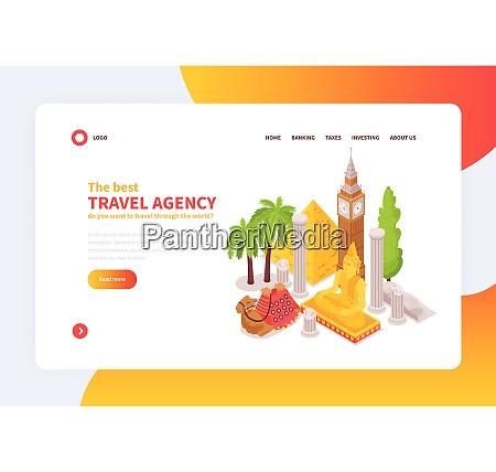 online internationales reisebuero konzept homepage isometrisches