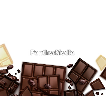 chocolate realistic background with frame of