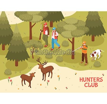 hunters club season activities isometric poster