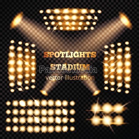 stadium spotlights gold set with soffits