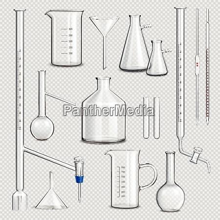laboratory glassware transparent set with science