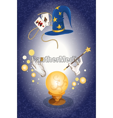 magician decorative colored background with wizard