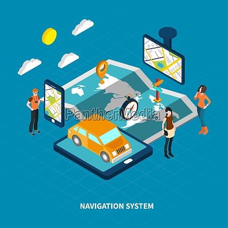 navigation system with map and people