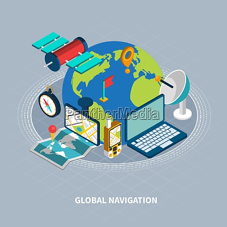 global navigation concept with satellite and