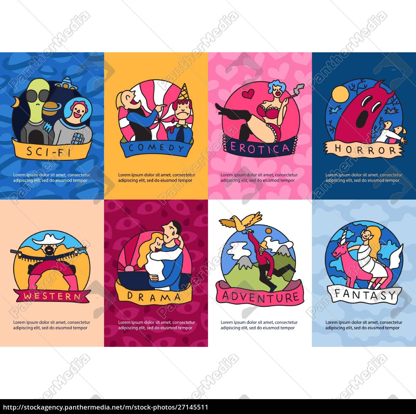 cinema, genres, 8, colorful, mini, banners - 27145511