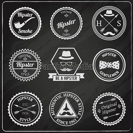 hipster vintage chalkboard labels set with