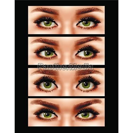 set of realistic human female eyes